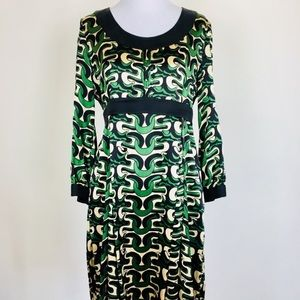 DVF abstract 3/4 sleeve printed dress